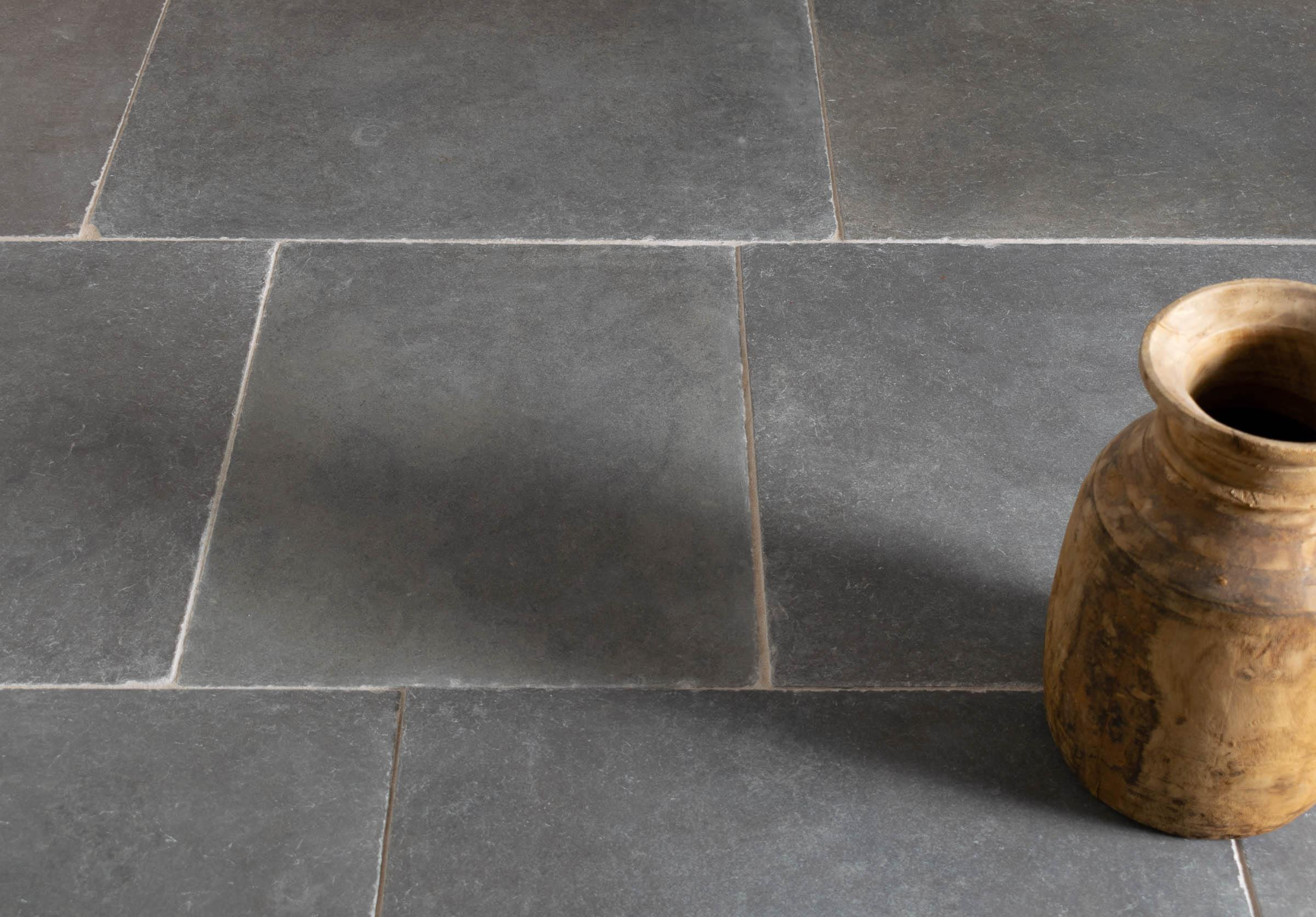 Worn Grey Limestone Tiles Floors Of Stone